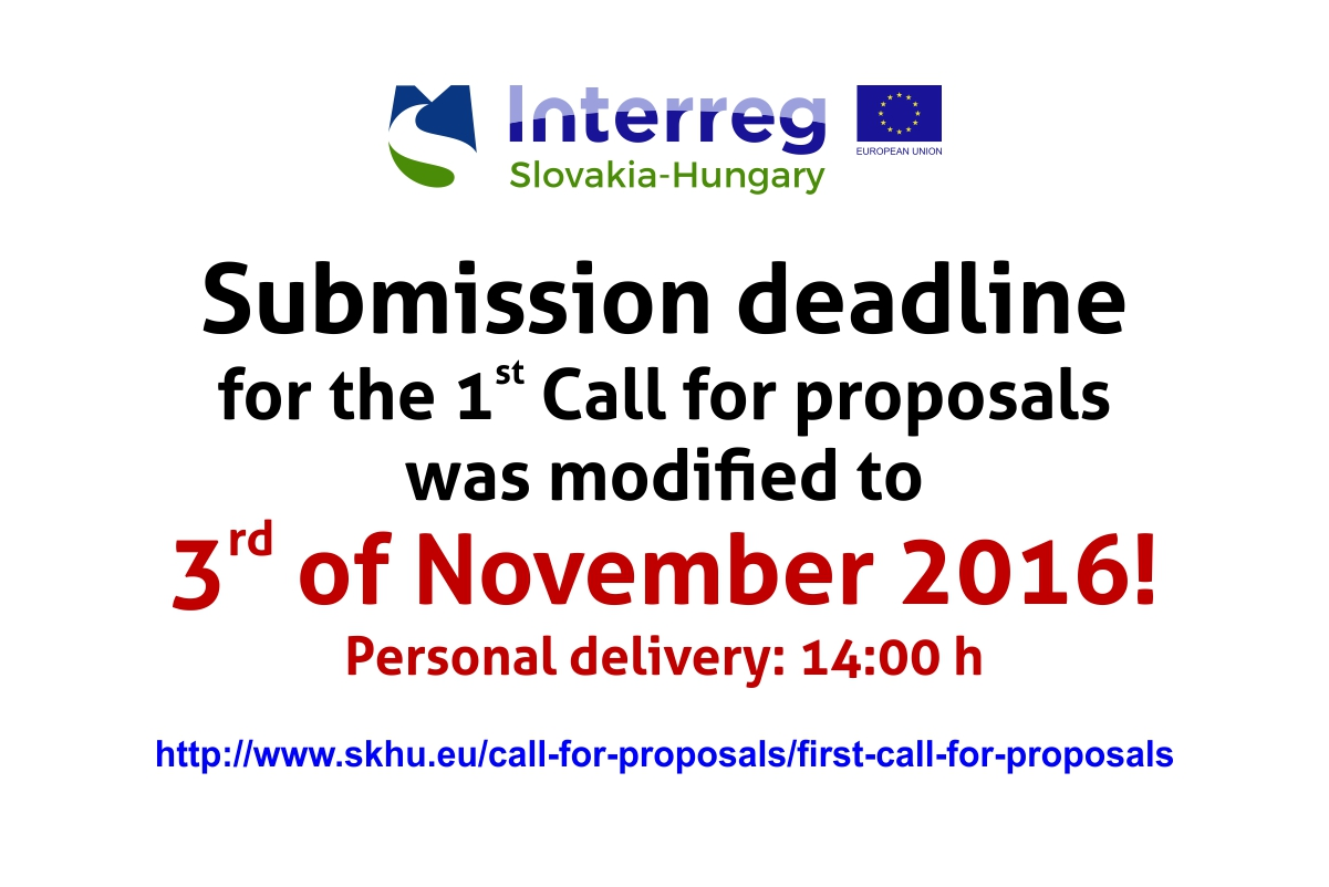Change of submission deadline